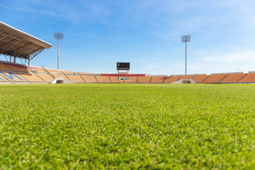 Beautiful grass soccer stadium for use in football match and athletics (public stadium create from people tax all access)