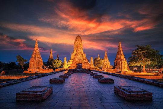Old Temple wat Chaiwatthanaram of Ayutthaya Province
