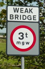 weak bridge sign