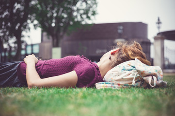 Young woman relaxing in park