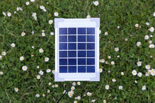 Small solar panel in a garden