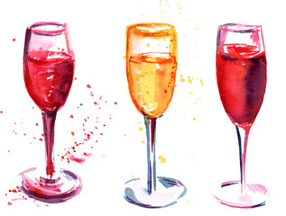 Set of flute glasses with rose and white sparkling wine