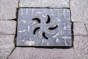 Ornamented Iron Manhole Shaped With Petals in a Circular Pattern