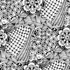 Hand drawn Zentangle seamless  pattern on white background. Use for cards, invitation, wallpapers, pattern fills, web pages elements and etc.