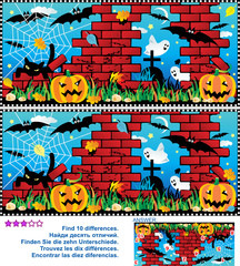 Visual puzzle: Find the ten differences between the two pictures - Halloween night, pumpkin field, ruines, cemetery, ghosts, bats, black cat, spider web. Answer included.
