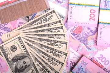 european money, ukrainian money and american dollars