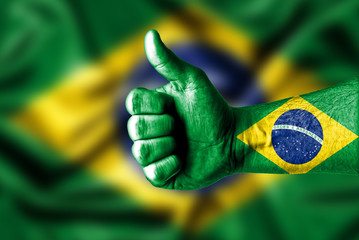 Picture of a thumbs up . Like Brazil, Like concept