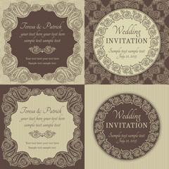 Baroque wedding invitation set, brown and beige