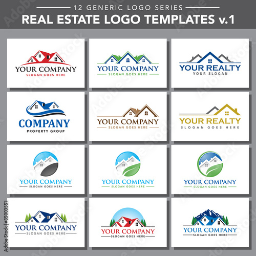 12 generic logo series real estate logo templates v 1 stock image