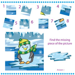 Find missing piece game for Children with penguin on ice