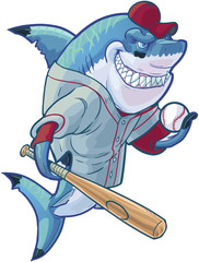 Mean Cartoon Baseball Shark with Bat and Ball