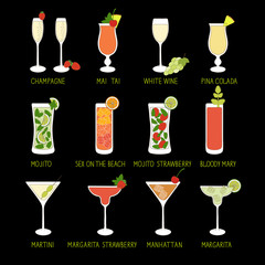 Set of Cocktails and Alcohol Drinks in black background.