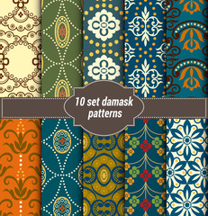 collection of floral patterns for making seamless wallpapers, vintage styles, pattern swatches included,