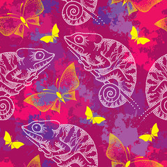 Seamless pattern with dotted white Chameleon and butterflies