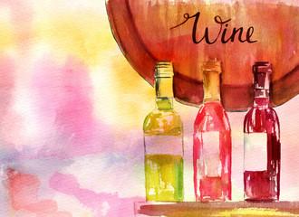 Three wine bottles and fragment of wine barrel, watercolour illustration