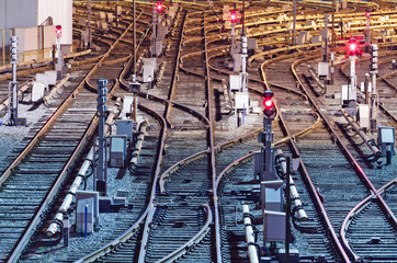 Night view of rail tracks in depot, Kiev