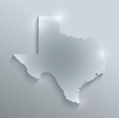 Texas map flag glass card paper 3D vector
