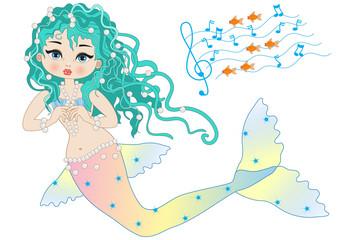 Sirena su Sfondo Bianco con Rigo Musicale