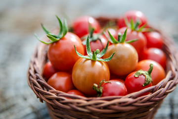 Cherry tomatoes in a small basket on an old wooden surface, spac