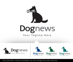 Dog News Logo Design Template