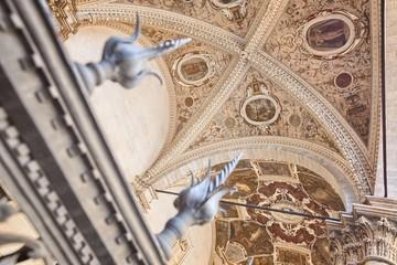"Detail embellishments House ""Loggia della Mercanzia"" in Siena Italy"