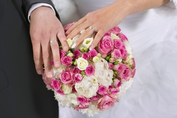 wedding rings, hand and flowers in the wedding photo