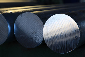 Aluminium bars made from melted aluminium.