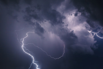 Wall Mural - Lightning with dramatic clouds