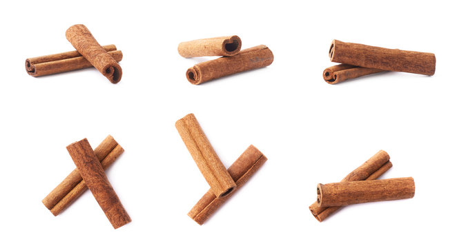 Pile of cinnamon sticks isolated