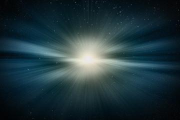 우주 에서의 태양 폭발과 빛