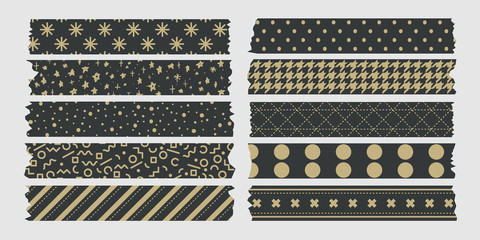 vintage masking tape collection dark and gold