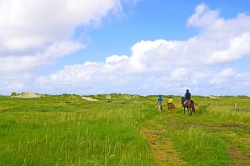 Reiter in den Dünen an der Nordsee
