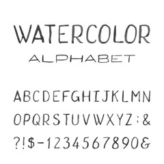 Watercolor Alphabet. Painted Vector Font.