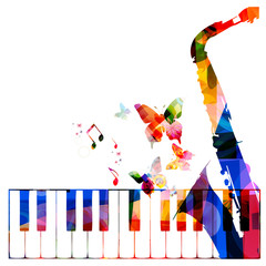 Colorful music background with instruments