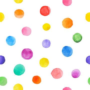 Colorful paint watercolor seamless pattern  polka dot.