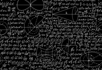 Math vector seamless with formulas, figures, calculations