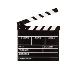 Film clapper on white background