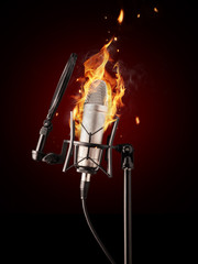Professional singing microphone in fire