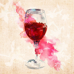 Watercolour glass of red wine