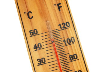 close wooden celsius fahrenheit thermometer
