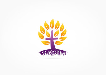 crucifix logo,Christian roots of the tree crown of thorns concept