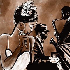Photo sur Plexiglas Art Studio Jazz band with singer, saxophone and piano - illustration