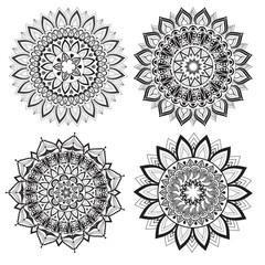 A set of beautiful mandalas and lace circles. Vector