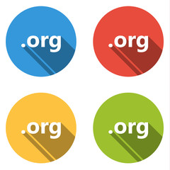 Collection of 4 isolated flat buttons for .org domain name