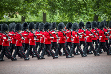 London Queen's Guards Marching in Formation