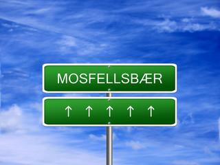 Mosfellsbaer City Iceland Sign