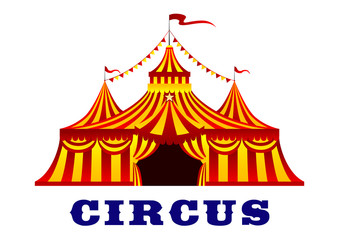 Circus tent with red and yellow stripes