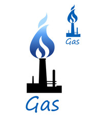 Gas symbol with pipe and blue flame
