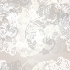 Vector seamless pattern for wallpaper design with floral swirls