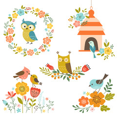 Set of design elements with flowers and birds